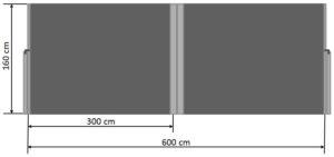 Seitenmarkise 160 x 600 cm Maße