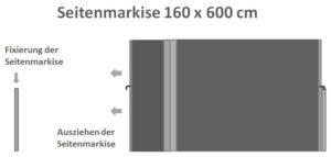 Seitenmarkise 160 x 600 cm ausziehbar
