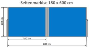 Seitenmarkise 180 x 600 cm Maße
