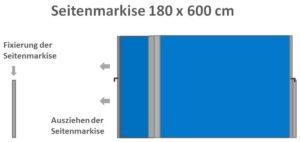 Seitenmarkise 180 x 600 cm ausziehbar