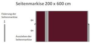 Seitenmarkise 200 x 600 cm ausziehbar